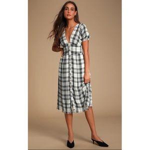 Lulus Dakota Black White Plaid Button Front Dress